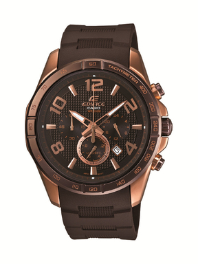 The EFR516PG-1AV, Casio's newest EDIFICE Black X Rose Gold model, exudes a bold and diversified look.