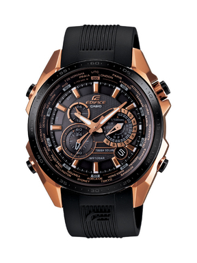 Casio's new EDIFICE Black X Rose Gold EQS500CG-1A offers a number of advanced technological capabilities.