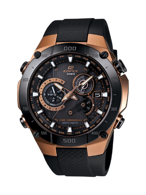 Casio's EDIFICE Black X Rose Gold EQWM1100CG-1 provides a striking design with a bold rose gold twist.