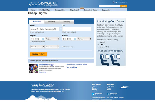 The new SeatGuru website offers a powerful flight search engine with summarized itinerary recommendations