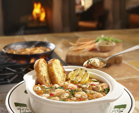 "Olive Garden's new ""Lighter Italian Fare"" menu section features five delicious entrées containing less than 575 calories each (here: Seafood Brodetto)."