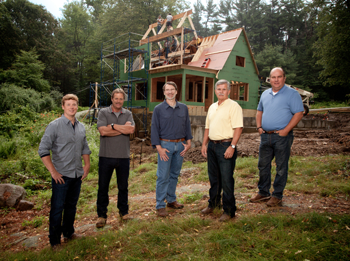 The Essex Project. Pictured: host Kevin O'Connor, landscape contractor Roger Cook, master carpenter Norm Abram, general contractor Tom Silva, heating and plumbing expert Richard Trethewey. (credit: Matt Kalinowski)