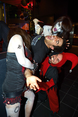 Zombie dancers attack Goretorium creator Eli Roth at the opening of the only year-round haunt experience in Las Vegas.