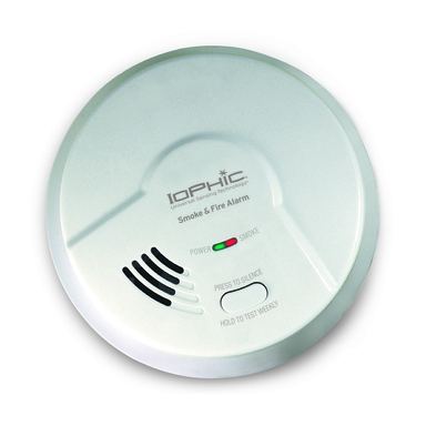 The Iophic® smoke and fire alarm protects families against slow smoldering and fast flaming fires and is the only smoke and fire alarm you'll ever need for every room in your home.
