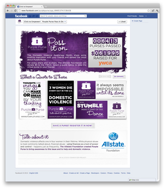 This October, Domestic Violence Awareness Month, visit www.Facebook.com/PurplePurse to pass virtual purple purses. For each share, The Allstate Foundation will donate $5 to the YWCA, up to $175,000.