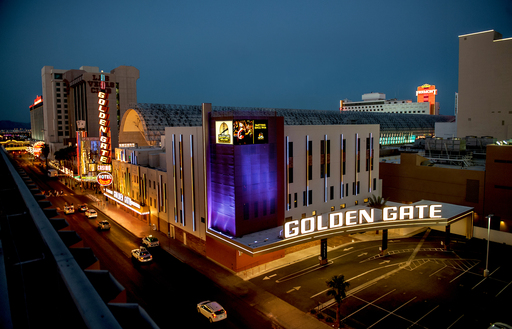 Golden Gate's original façade has been restored with the addition of a 35,000-square-foot, five-story luxury tower, modern digital marquee & LED lighting accents reminiscent of 1920s pinstripes.