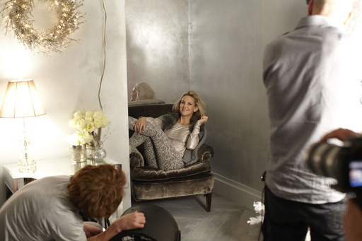 Kate Hudson has fun on set while shooting Ann Taylor's Holiday 2012 ad campaign in New York City