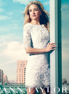 Kate Hudson wears Ann Taylor Floral Embroidered Shift Dress for the brand's Spring 2013 campaign