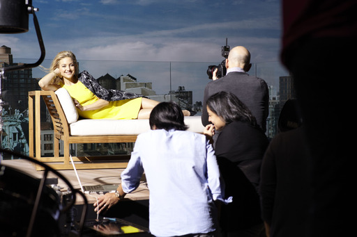 Kate Hudson strikes a pose while shooting the Ann Taylor Spring 2013 campaign in Los Angeles