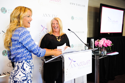 Kay Krill, President & CEO of Ann Inc. introducing Kate Hudson, Ann Taylor Brand Ambassador at ANNpower Vital Voices Leadership Forum in Washington, D.C.