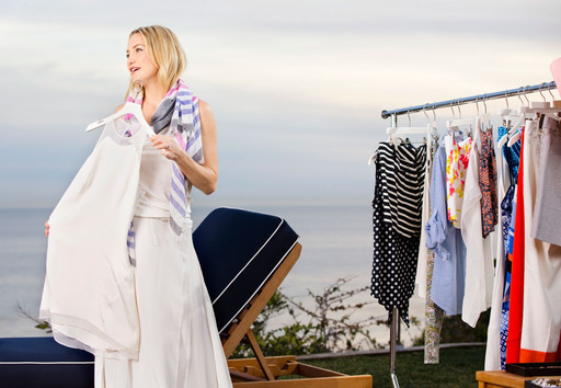 Kate Hudson wearing Elegant Tank and Entrance Skirt from the Kate Hudson for Ann Taylor collection on set in Malibu