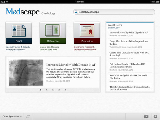Medscape app on iPad