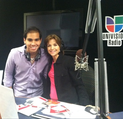 On Air Talent at Univision America, Hellen Aguirre Ferré next to St. Jude patient Luis Enrique