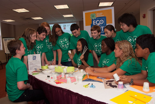 4-H'ers teach other young people how to conduct the 2012 National Science Experiment.