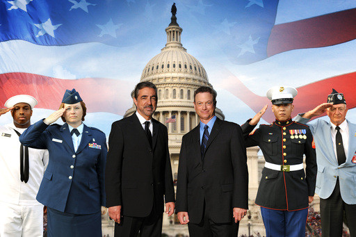 Joe Mantegna and Gary Sinise (center) co-host the NATIONAL SALUTE TO VETERANS on PBS Sunday, November 11 at 8 pm ET, celebrating all our American heroes. Credit: Capital Concerts