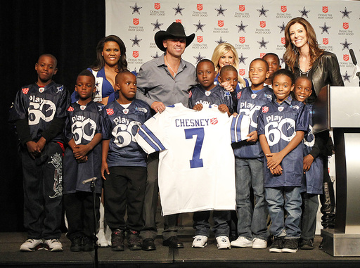 Music superstar Kenny Chesney announces his halftime performance during the Dallas Cowboys Thanksgiving Day game to kickoff The Salvation Army Red Kettle Campaign.