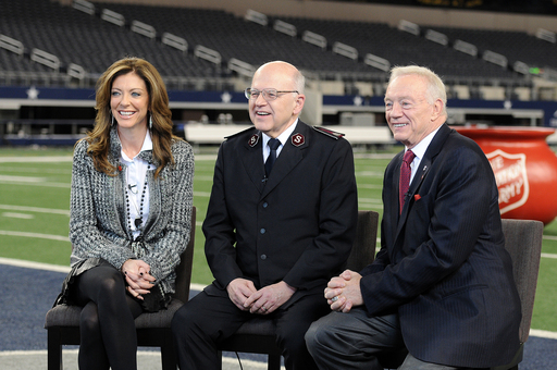 Charlotte Jones Anderson and Jerry Jones with the Dallas Cowboys and Commissioner William Roberts with The Salvation Army kick-off the annual Red Kettle Christmas Campaign.