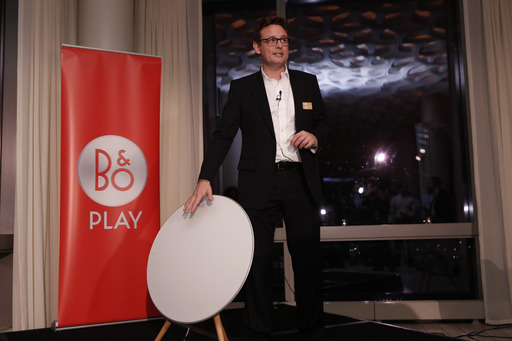 Henrik Taudorf Lorensen, Vice President of B&O Play, unveils the BeoPlay A9 at the Trump Soho in NYC