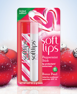 New! Softlips lip balm Peppermint Stick flavor.