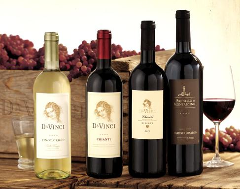 (from left) DaVinci® Pinot Grigio, Chianti, Chianti Riserva and Brunello di Montalcino is produced by DaVinci's cooperative of over 200 wine growers in Tuscany.
