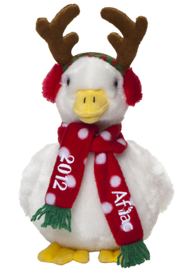 The 2012 Aflac Holiday Duck is adorned with antlers, earmuffs, and a cozy red scarf. These festive ducks are on sale now at Macy's department stores and at www.aflacholidayduck.com.