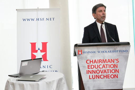 Frank Alvarez, Pres./CEO, HSF, welcomes attendees to the Chairman's Education Innovation Luncheon.