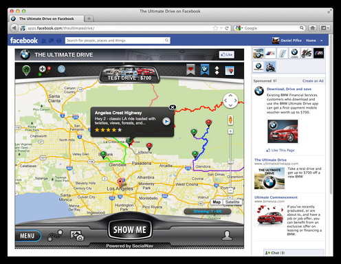 Want to get an overview of a great drive – just go to the map view of The Ultimate Drive for Facebook.
