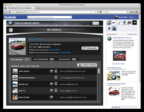 The profile page of The Ultimate Drive for Facebook lets members of the BMW community share a bit about themselves –and find out about other like-minded driving enthusiasts.