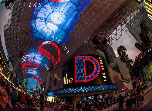 The D's Fremont Street façade is home to an exclusive interactive video display that broadcasts colorful, dynamic content across hundreds of feet of LED signage and 40 giant flat screen televisions.