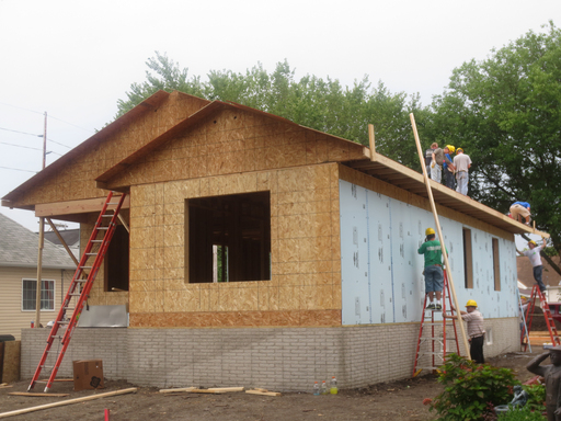 The Scheidt home at the end of the second day of building