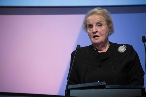 Dr Madeleine Albright, former U.S. Secretary of State addresses conference delegates