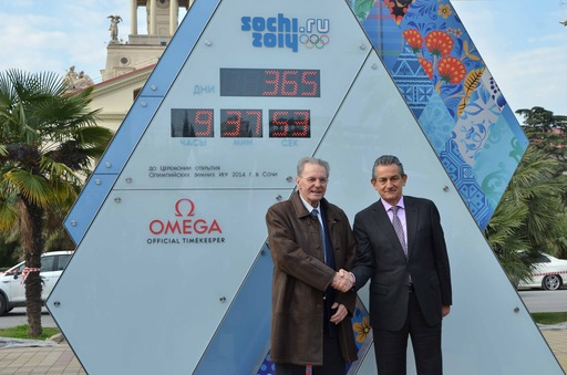 OMEGA President Stephen Urquhart joined International Olympic Committee President Jacques Rogge in front of the OMEGA Countdown Clock in Sochi today to celebrate the unveiling of eight other OMEGA Countdown Clocks across Russia.