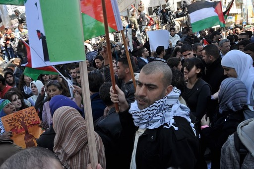 Abdullah (featured in the book) joins a demonstration in Palestine