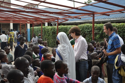 Lindsay with school children in Kenya