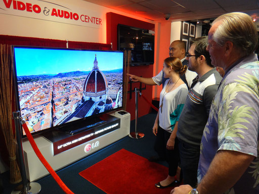 Consumers get their first look at LG's 84-Inch Ultra HD TV at the Video & Audio Center in Lawndale, CA