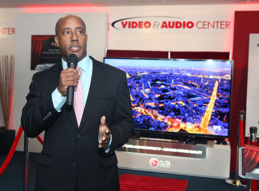 Jeff Joseph, Consumer Electronics Association senior vice president, talks about the importance of Ultra-High-Definition TV during the retail launch of LG's 84-inch model at the Video & Audio Center in Lawndale, CA
