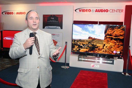 LG Electronics' Jay Vandenbree introduces the first Ultra-High-Definition TV to hit the U.S. Market, LG's 84-inch model, at the Video & Audio Center in Lawndale, CA
