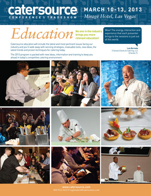 Education by caterers, for caterers with classes for wedding planners, small business owners, chefs, owners, salespeople and everyone else in the catering industry.