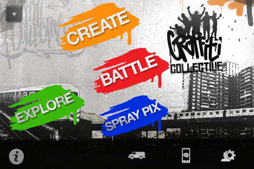 The game invites players to interact through four main portals: Create, Battle, Explore and SprayPix. SprayPix is a unique, augmented reality feature where players can superimpose their virtual graffiti pieces over a real-life photo.