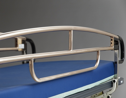 This hospital bed is designed with Antimicrobial Copper rails to kill bacteria.
