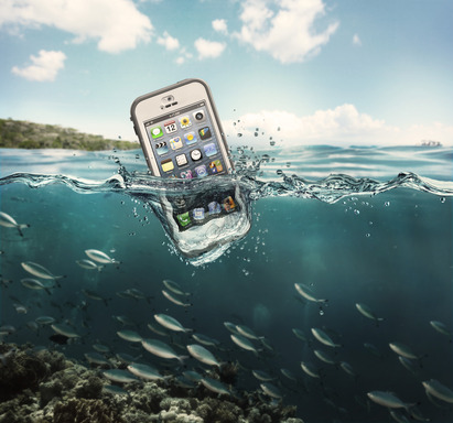 LifeProof nüüd for iPhone 5 is waterproof down to 2 meters (6.6 Feet).