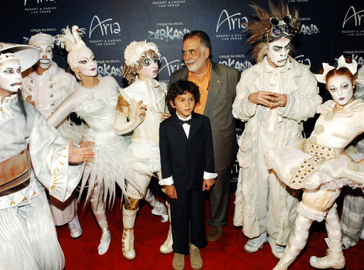 "Director Francis Ford Coppola (C) with 'Zarkana by Cirque du Soleil' characters at the Las Vegas premiere of ""Zarkana by Cirque du Soleil (Photo by Bryan Steffy/Getty Images for Cirque du Soleil)"