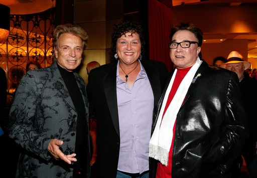 "(L-R) Siegfried Fischbacher, actress Dot Jones and Roy Horn attend the reception for the Las Vegas premiere of ""Zarkana by Cirque du Soleil"" (Photo by Isaac Brekken/Getty Images for Cirque du Soleil)"