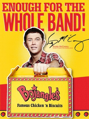 "Scotty showcases the Bojangles' ""Big BO Box,"" which holds chicken, biscuits, fixin's and a half gallon of tea – enough for Scotty and the whole band!"