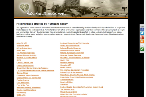 Hurricane Sandy Website Screenshot