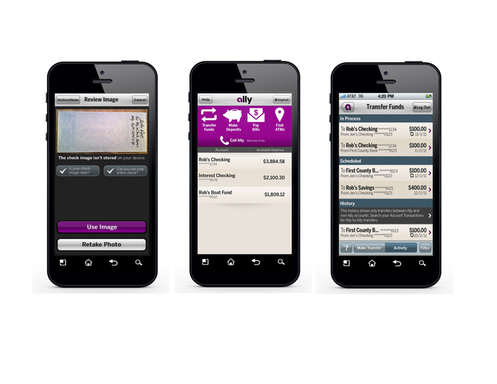 Ally Mobile Banking features the ability to deposit checks using your smart phone's camera, transfer funds, see the current Ally Customer Call Center wait time and more.