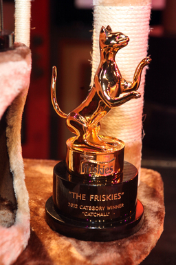 "Winners of ""The Friskies"" cat video awards were presented with 12-pound gold-plated Friskies® Catuette trophies"