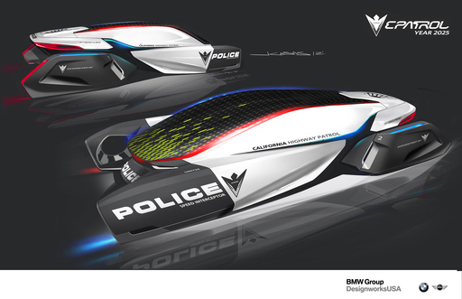 The BMW DesignworksUSA E-Patrol deploys drones in the quest to envision the future of law enforcement vehicles as part of the 2012 LA Auto Show Design Challenge.