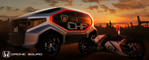 The Honda Advanced Design CHP Drone Squad, a 2 vehicle system, allows for manned or un-manned missions for future law enforcement as part of the 2012 LA Auto Show Design Challenge.