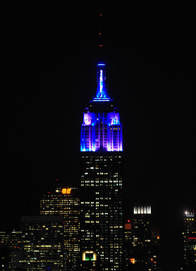 Empire State Building unveils new LED tower lights with an exclusive light show on Monday, November 26, 2012.